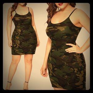 Dresses & Skirts - Military-Print, Strappy, Minidress